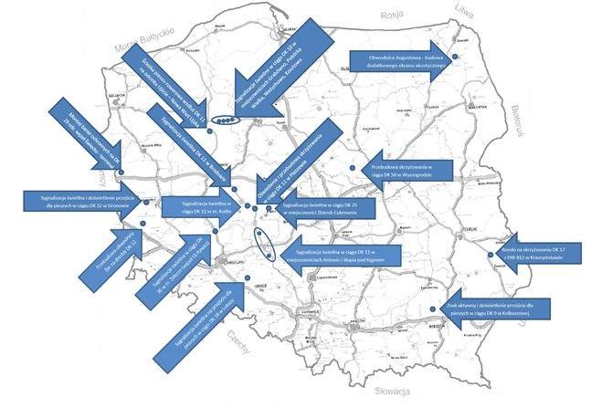 16 inwestycji zwiększających bezpieczeństwo ruchu drogowego