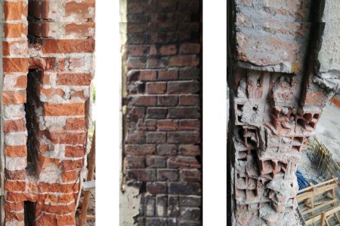 Złożone układy ścienne z cegły w dociepleniach od wewnątrz