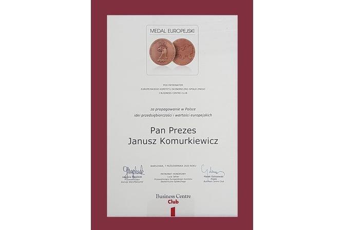 Honorowy Medal Europejski dla Janusza Komurkiewicza