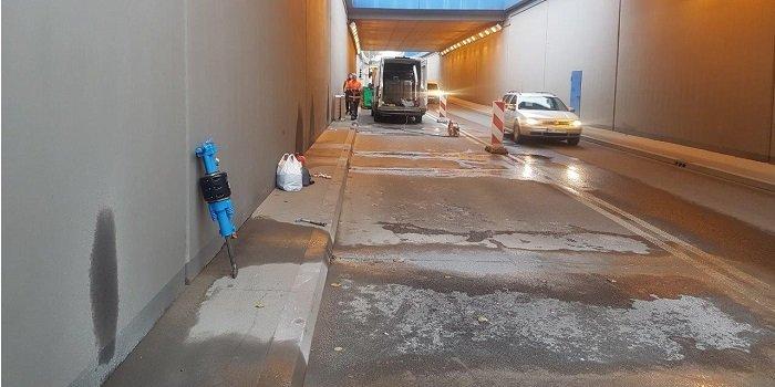 Uszczelnienie konstrukcji tunelu drogowego żywicami iniekcyjnymi KÖSTER IN i żelem akrylowym KÖSTER Injektion Gel