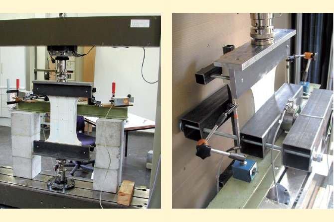 Od lewej: Stanowisko badawcze i zestaw do badania próbek płyt warstwowych według Institute for Sandwich Technology Archiwum autora