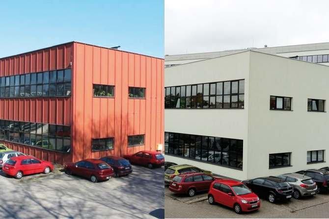 FOT. 1-2. Zmodernizowany budynek WBiIŚ PP - przykład montażu styropianu do płyty warstwowej: wygląd przed i po modernizacji Fot. archiwum autora