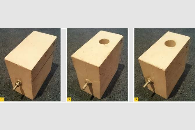 FOT. 1-3. Zakotwienie pręta stalowego w drążonym bloku wapienno-piaskowym: w części pełnościennej (1), w środku otworu pionowego (2), na krawędzi otworu pionowego (3) Archiwum autora