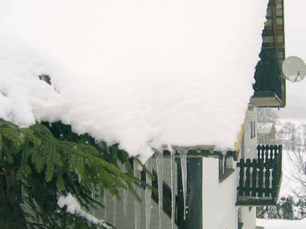 Fot. 1. W wielu regionach, gdzie występują duże opady śniegu, nie stosuje się rynien z wiadomych powodów. Z dachem styka się jodła, która wcześniej lub później zostanie złamana. Wokół takich dachów lepiej nie sadzić drzew, bo będą okaleczone. K. Patoka