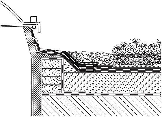 RYS. 3.Detal przy naświetlu. Przy kopułach, naświetlach i innych tego typu elementach konieczne jest pozostawienie wolnego od roślinności pasa o szerokości ok. 50 cm, wykonanego ze żwiru. Mocowanie kopuły powinno znajdować się przynajmniej 15 cm powyżej wierzchu warstwy żwiru. Jeżeli warstwa wegetacyjna jest jednocześnie warstwą drenująca, nie jest konieczne stosowanie fizeliny filtrującej na styku substratu i żwiru; rys.: [2]