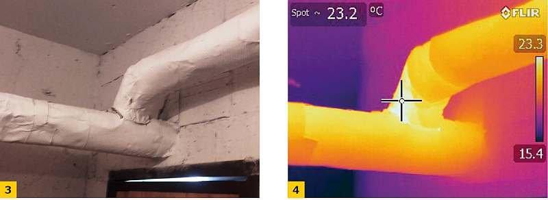 Fot. 3-4. Mostki cieplne w praktycznie dobrze zachowanej izolacji technicznej w budynku wielorodzinnym; fot.: archiwum autora