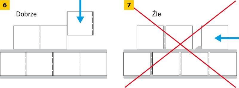 RYS. 6-7. Poprawne murowanie elementów z niewypełnionymi spoinami pionowymi; rys.: H+H Silikaty