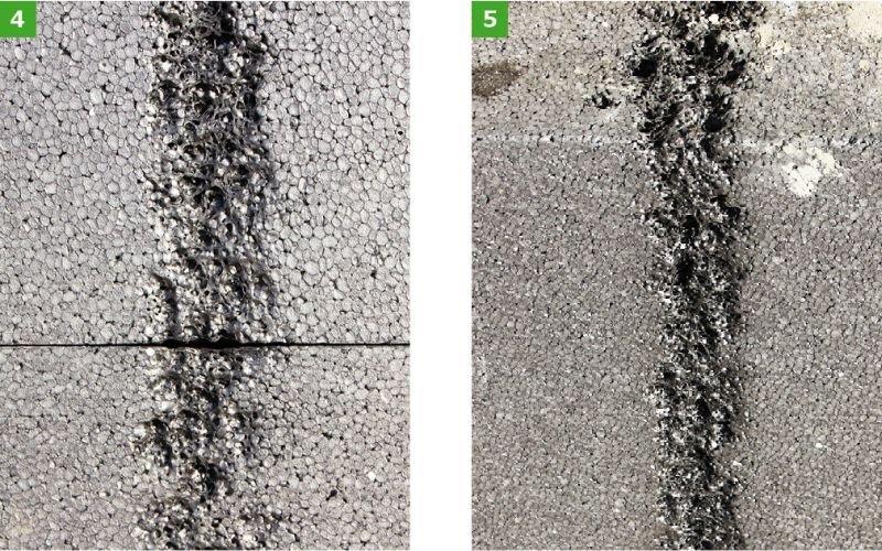 FOT. 4-5. Efekt wytapiania płyt styropianowych i tzw. liniowe wytopienie szarych płyt styropianowych; fot. K. Pawłowski