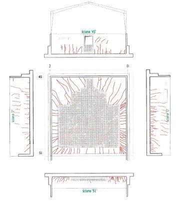 Rys. 1. Położenie i obrys zdemontowanego pieca wewnątrz hali oraz ideowy szkic spękań płyty fundamentowej i ścian hali pieca