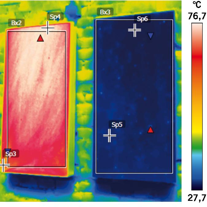 FOT. 8. Badanie termowizyjne styropianu grafitowego i białego w warunkach laboratoryjnych; fot.: P. Krause