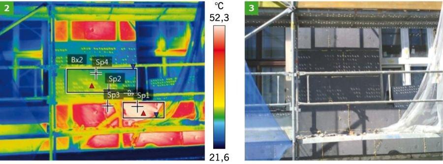 FOT. 2-3. Badanie termowizyjne ocieplanej ściany styropianem grafitowym - wrzesień 2018 r.; fot.: P. Krause