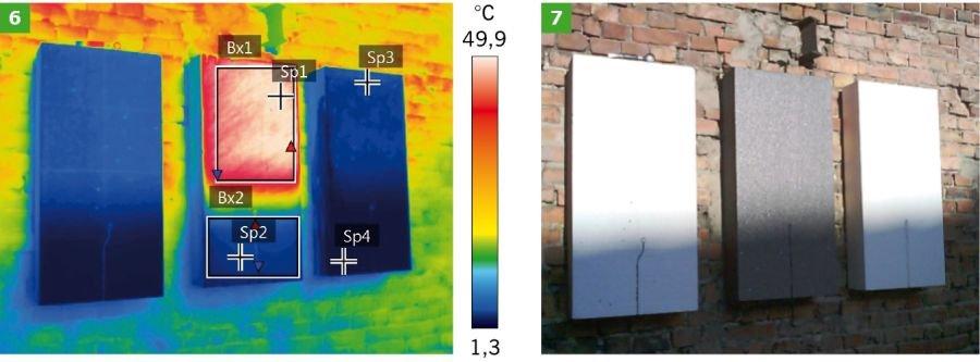 FOT. 6-7. Badanie termowizyjne styropianu grafitowego i białego w styczniu 2019 r.; fot.: P. Krause