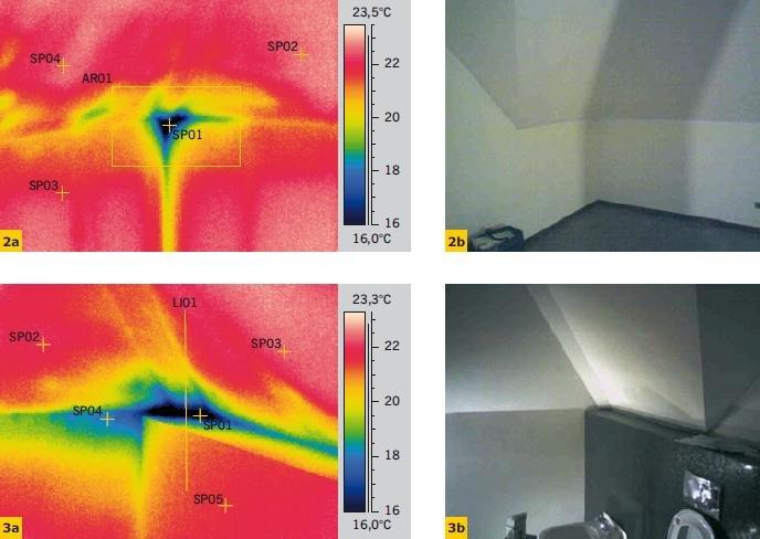 Fot. 2–3. Termogramy wewnątrz pomieszczenia ze skośnymi połaciami dachu – widoczne fragmenty z miejscowo pocienioną izolacją cieplną