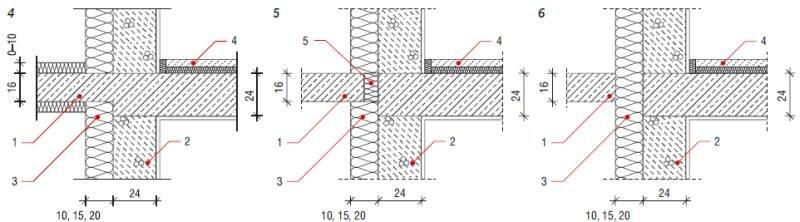 Rys. 4–6. Rodzaje balkonów przyjęte do obliczeń: balkon wspornikowy z ocieploną płytą (4), balkon z wkładką termoizolacyjną (5), balkon z płytą oddylatowaną (6): 1 – żelbetowa płyta balkonowa, 2 – ściana z gazobetonu, 3 – ocieplenie w systemie ETICS, 4 –.