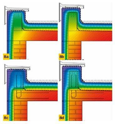 Rys. 8. Wizualizacja pola temperatury wewnątrz przekroju – modele detali jak na rys. 7