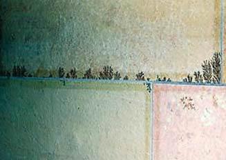 Fot. 6. Płyta z wrażliwego na przebarwienia kamienia naturalnego po zastosowaniu nieodpowiedniej zaprawy spoinującej