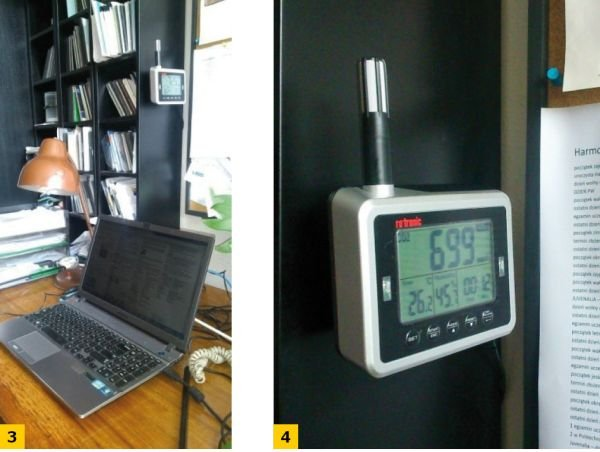 FOT. 3-4. Przykład prostego rejestratora temperatury powietrza, wilgotności i stężenia CO2 (z progami alarmowymi) na stanowisku pracy biurowej; fot.: archiwum autora