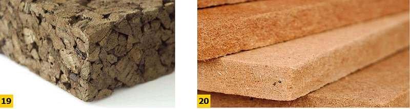 FOT. 19-20. Przykładowe ekologiczne materiały termoizolacyjne: płyta z korka ekspandowanego (19), płyta pilśniowa (20); fot.: korkowy.pl, all.biz.pl