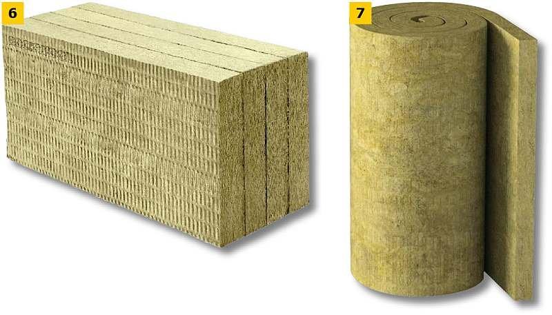 FOT. 6-7. Przykładowe płyty (6) i maty z wełny mineralnej (skalnej) (7); fot.: materiały producentów