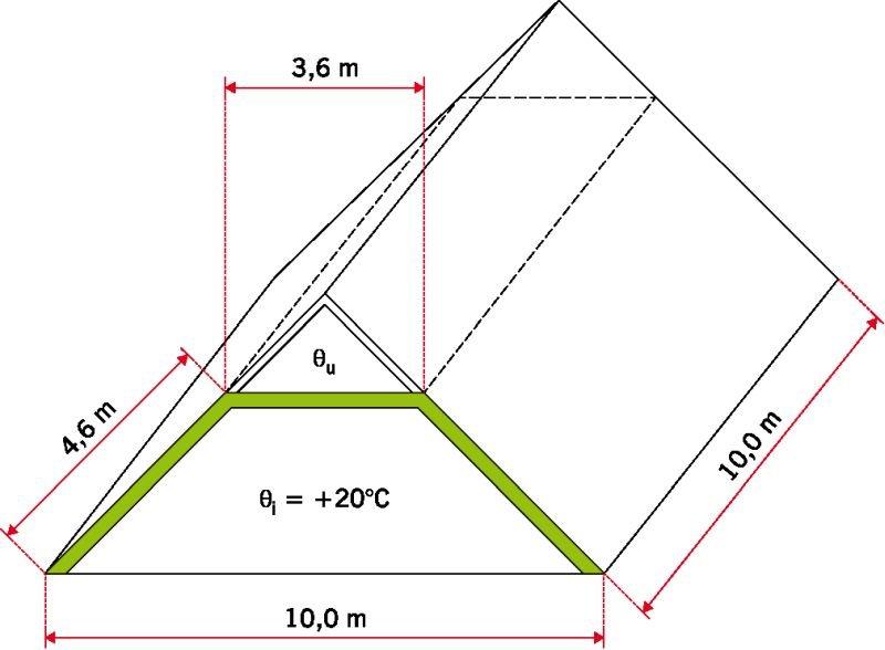 RYS. 12. Model połaci przyjęty do obliczeń energetycznych; rys.: M. Wesołowska, K. Pawłowski i P. Rożek