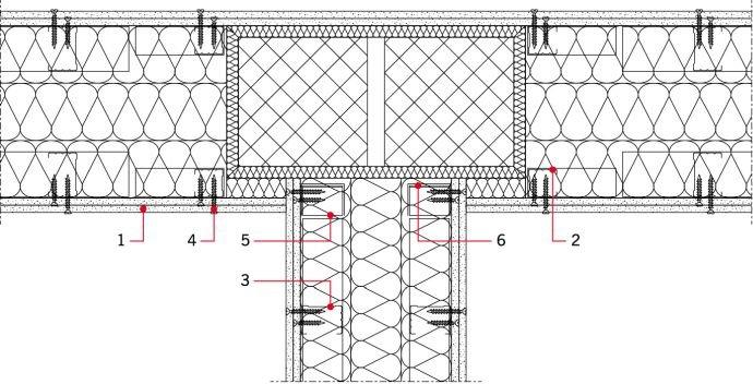 RYS. 7. Widok przykładowego sposobu wykonania ściany międzylokalowej w sąsiedztwie słupów stanowiącychkonstrukcję więźby dachowej; rys. [10] 1 - płyta g-k, 2 - profil CW 50, 3 - profil CW 75, 4 - wkręty, 5 - kątownik do UA, 6 -profil UA 50 lub 75
