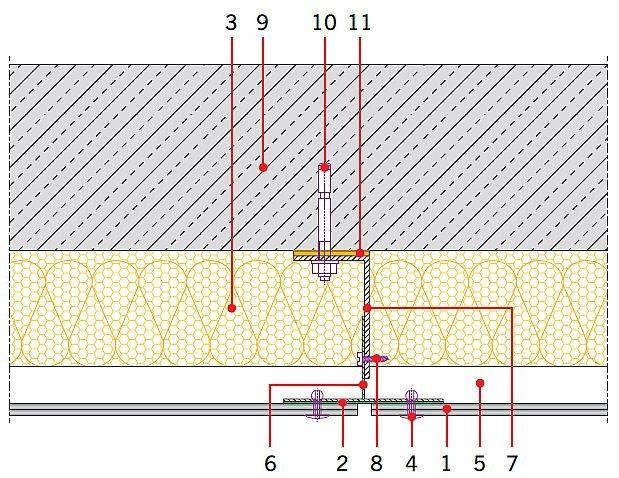 RYS. 2. Układ warstw w systemie elewacji wentylowanej. Objaśnienia: 1 - okładzina elewacyjna z płyty włóknisto-cementowej, 2 - taśma EPDM, 3 - izolacja termiczna z wełny mineralnej z welonem szklanym, 4 - łącznik płyty, 5 - szczelina wentylacyjna, 6 - podkonstrukcja aluminiowa - element nośny pionowy, 7 - konsola mocująca profile pionowe, 8 - łącznik elementów aluminiowych, 9 - ściana konstrukcyjna, 10 - kotwa mocująca konsolę, 11 - przekładka termoizolacyjna; rys.: [2]