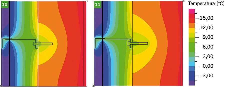 RYS. 10-11. Dwuwymiarowe pole temperatury w obszarze konsoli i kotwy mocującej, z podkładką izolującą, dla ściany z żelbetu; kotwa mocująca ze stali nierdzewnej (10), kotwa mocująca ze stali zwykłej (11); rys.: archiwa autorów