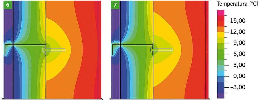 RYS. 6-7. Dwuwymiarowe pole temperatury w obszarze konsoli i kotwy mocującej, bez podkładki izolującej, dla ściany z żelbetu; kotwa mocująca ze stali nierdzewnej (6), kotwa mocująca ze stali zwykłej (7); rys.: archiwa autorów
