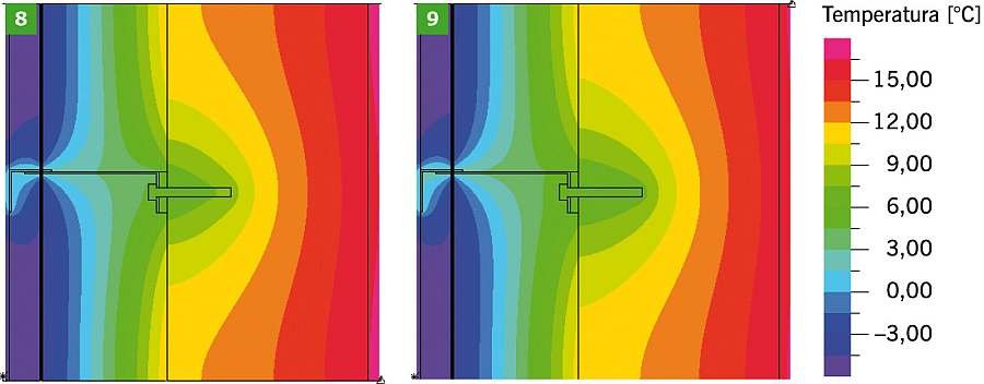 RYS. 8-9. Dwuwymiarowe pole temperatury w obszarze konsoli i kotwy mocującej, z podkładką izolującą, dla ściany z elementów wapienno-piaskowych; kotwa mocująca ze stali nierdzewnej (8), kotwa mocująca ze stali zwykłej (9); rys.: archiwa autorów