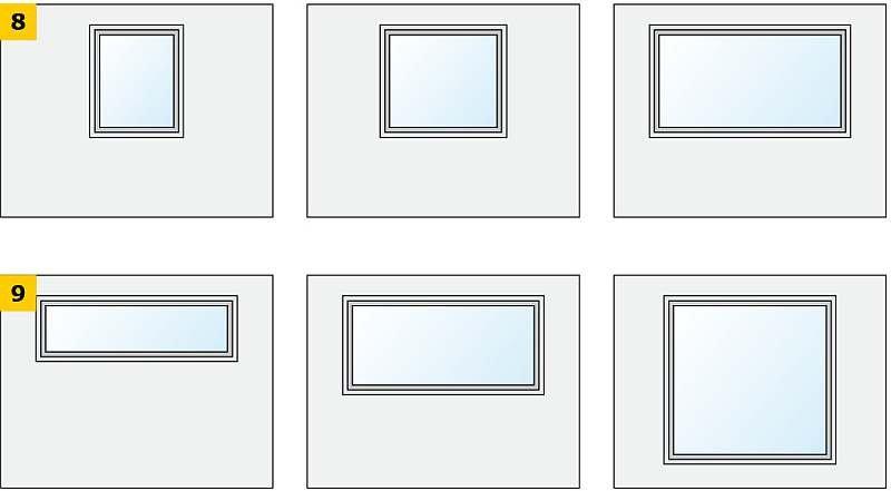 RYS. 8-9. Schematy badanych wariantów ściany osłonowej z oknem ze zróżnicowanym polem powierzchni (8) oraz ze zróżnicowanymi proporcjami wymiarów (9); rys.: archiwa autorów