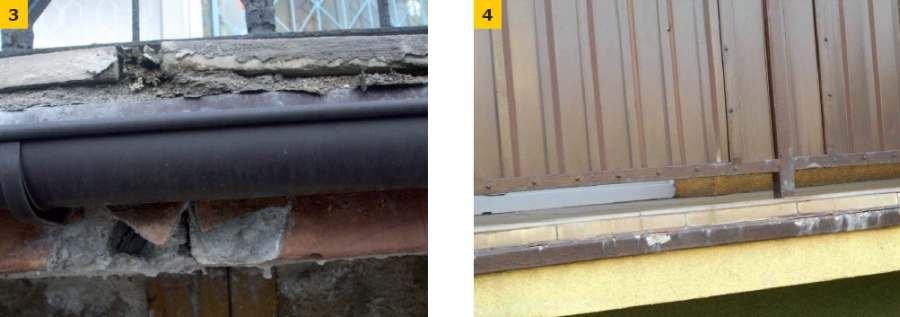 FOT. 3. Uszkodzenia strefy okapu; fot.: M. Małek; FOT. 4. Uszkodzenia i niewłaściwe wykonanie obróbek balkonowych; fot.: P. Krause