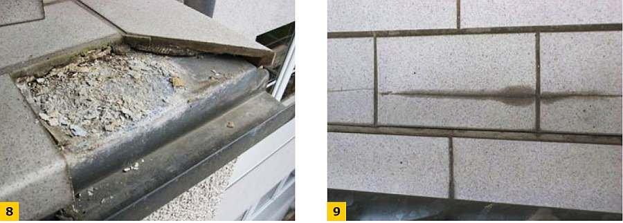 FOT. 8-9. Uszkodzenie płytek ceramicznych w obrębie pasma obróbek blacharskich; fot.: [1]