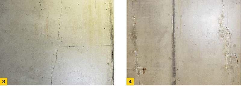 Fot. 3-4. Widok przykładowych rys skurczowych w ścianach garażu; fot. archiwum autorów