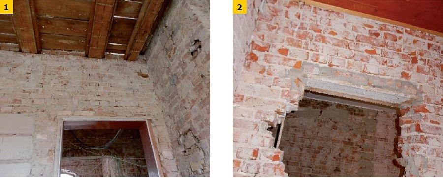 FOT. 1-2. Przykłady błędnie wykonanych nadproży: cienka deska zastosowana jako nadproże (1), brak nadproża (2); fot.: R. Nowak