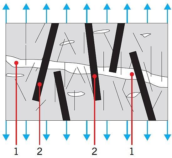 RYS. 2. Wpływ makrowłókien na mostkowanie makropęknięć i wzrost ciągliwości. Objaśnienia: 1 – makropęknięcie, 2 – makrowłókna mostkują makropęknięcie; rys.: [3]