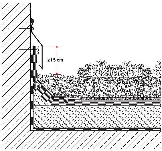 Rys. 10.Hydroizolacja przy przyległej ścianie. Wysokość wywinięcia warstwy hydroizolacji na ścianę dla dachów o nachyleniu połaci do 5° i ponad 5° nie powinna być mniejsza niż odpowiednio 15 cm i 10 cm. Warstwa drenująca wykonana z maty zespolonej z włó.