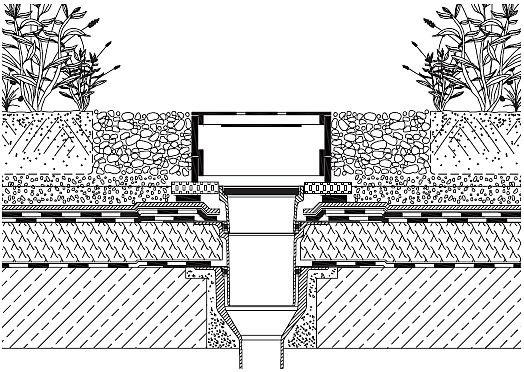 Rys. 17.Wpust dachowy przy zazielenieniu intensywnym umożliwiający utrzymywanie założonego poziomu wody w warstwie drenującej. W przypadku zazielenienia intensywnego korzystne może być utrzymywanie założonego minimalnego poziomu wody w warstwie drenując.