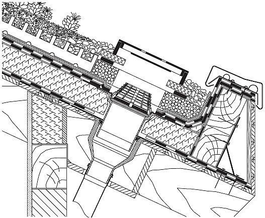 Rys. 18.Wpust dachowy na dachu spadzistym. Przy dachach o pochyleniu połaci powyżej 10° należy się liczyć ze znacznym wpływem sił poprzecznych. Mogą one być przeniesione przez odpowiednio wykonstruowaną i zwymiarowaną łatę okapową. Przy sposobie odwodni.