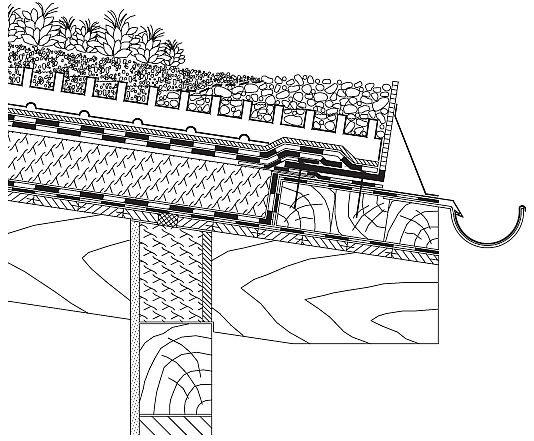Rys. 23.Dach zielony – detal przy rynnie zewnętrznej. Dla dachów o nachyleniu do 10° siły poprzeczne nie są zbyt duże. Woda opadowa odprowadzana jest do rynien i rur spustowych poprzez zamocowany na okapie kątownik z otworami. Warstwa wegetacyjna na dac.