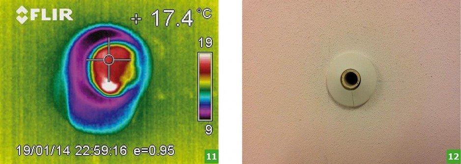 FOT. 11-12. Termogram (11) i zdjęcie poglądowe (12) w obszarze mostka punktowego od strony pomieszczenia odbiorczego; fot.: autorzy