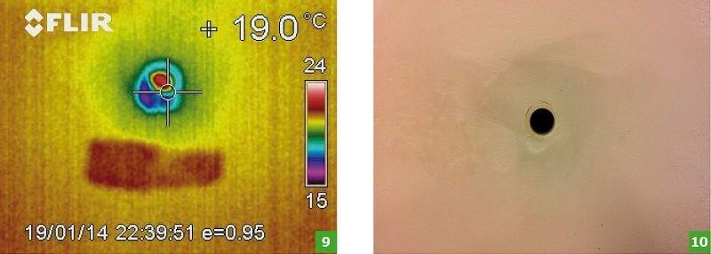 FOT. 9-10. Termogram (9) i zdjęcie poglądowe (10) w obszarze mostka punktowego od strony pomieszczenia nadawczego; fot.: autorzy