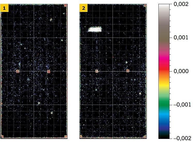 RYS. 1–2. Barwna mapa odkształceń płyty białej klejonej obwodowo‑punktowo (1) i punktowo (2) uzyskana z odczytów skanera 3D. Po prawej stronie umieszczono skalę barw [m]; rys.: P. Krause