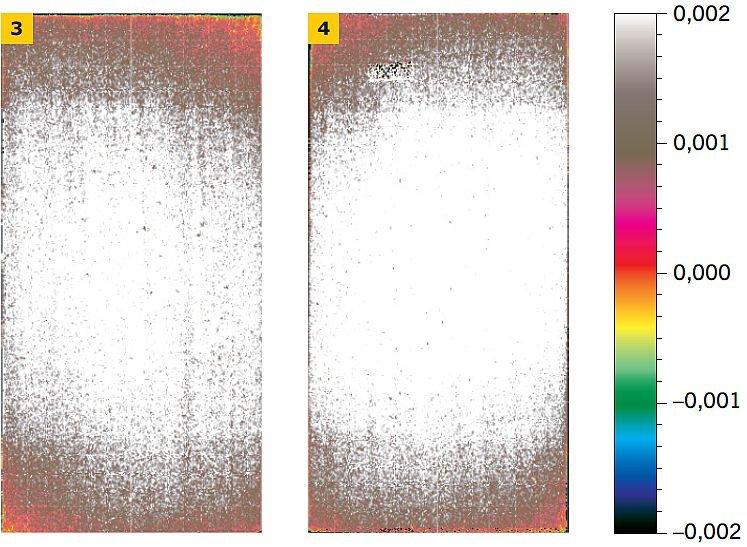 RYS. 3–4. Barwna mapa odkształceń płyty szarej klejonej obwodowo‑punktowo (3) i punktowo (4), uzyskana z odczytów skanera 3D. Po prawej stronie umieszczono skalę barw [m]; rys.: P. Krause