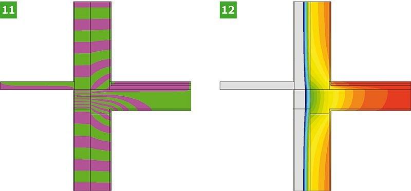 RYS. 11–12. Wyniki symulacji komputerowej analizowanych wariantów obliczeniowych połączenia ściany zewnętrznej z płytą balkonową: wariant II analizowanego złącza – linie strumieni cieplnych – adiabaty (11) oraz rozkłady temperatur – izotermy (12); rys.: opracowanie K. Pawłowski [11]