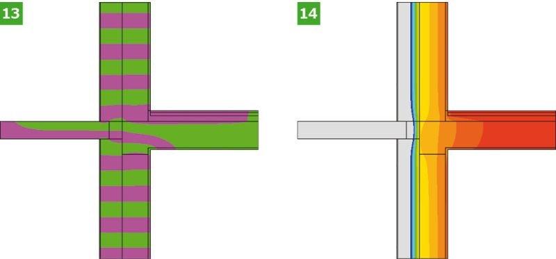RYS. 13–14. Wyniki symulacji komputerowej analizowanych wariantów obliczeniowych połączenia ściany zewnętrznej z płytą balkonową: wariant III analizowanego złącza – linie strumieni cieplnych – adiabaty (13) oraz rozkłady temperatur – izotermy (14); rys.: opracowanie K. Pawłowski [11]