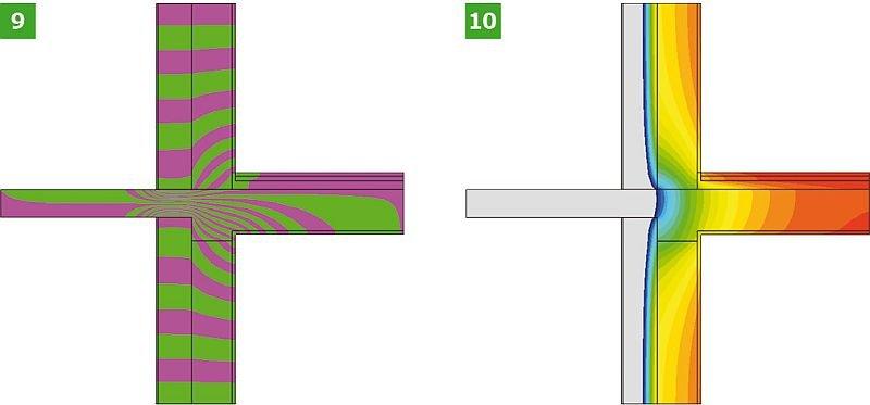 RYS. 9–10. Wyniki symulacji komputerowej analizowanych wariantów obliczeniowych połączenia ściany zewnętrznej z płytą balkonową: wariant I analizowanego złącza – linie strumieni cieplnych – adiabaty (9) oraz rozkłady temperatur – izotermy (10); rys.: opracowanie K. Pawłowski [11]