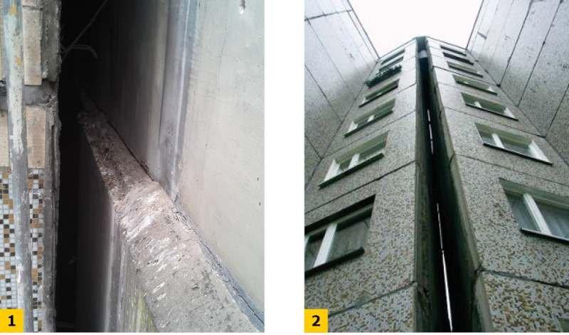 FOT. 1-2. Przykładowe dylatacje w budynkach przeznaczonych do termomodernizacji; fot. archiwa autorów