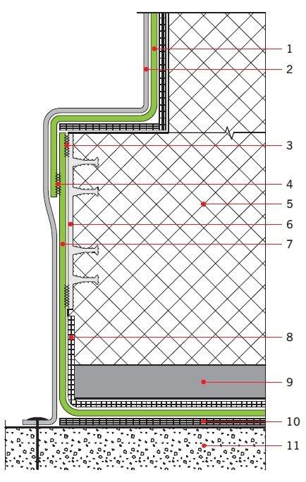 RYS. Detal połączenia izolacji pod płytą denną z izolacją pionową