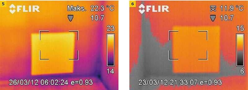 Od lewej: termogram ściany z zamontowaną płytą A; termogram ściany z zamontowaną płytą B. Szarym kolorem zaznaczono obszar, gdzie przy panujących warunkach może wystąpić kondensacja pary wodnej; rys. archiwum autora