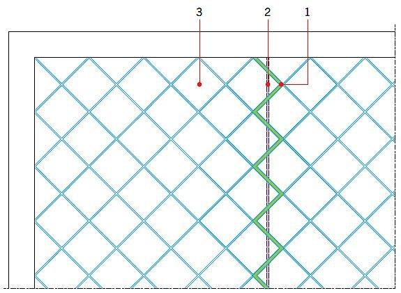 RYS. 12. Zmiana układu dylatacji strefowych podkładu i wykładziny, możliwa przy zastosowaniu maty kompensacyjnej układanej luźno na podłożu. Objaśnienia: 1 - dylatacja w wykładzinie, 2 - dylatacja w podkładzie, 3 - płytka, np. 60×60 cm; rys.: J. Klimczak, Atlas